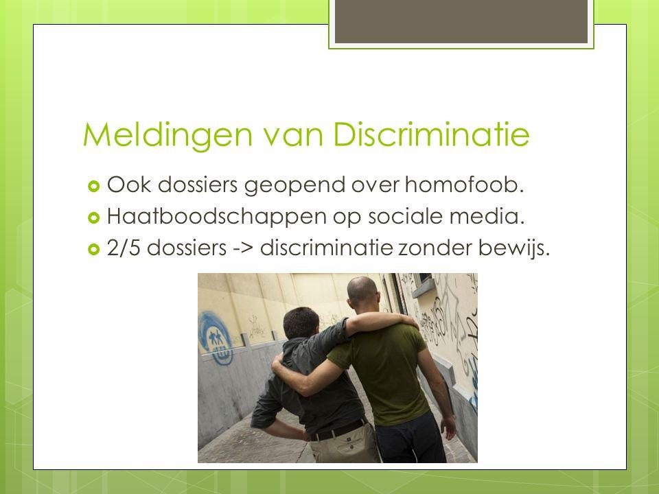 Meldingen van Discriminatie  Ook dossiers geopend over homofoob.  Haatboodschappen op sociale media.  2/5 dossiers -> discriminatie zonder bewijs.