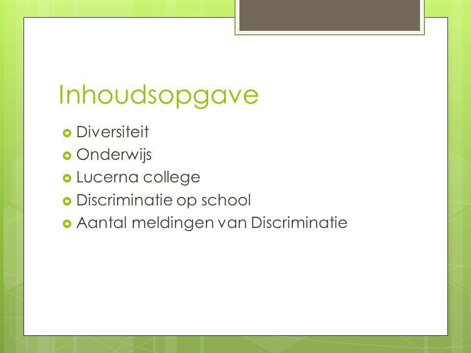 Inhoudsopgave  Diversiteit  Onderwijs  Lucerna college  Discriminatie op school  Aantal meldingen van Discriminatie