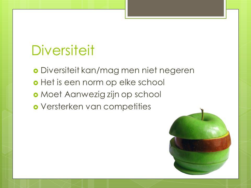 Diversiteit  Diversiteit kan/mag men niet negeren  Het is een norm op elke school  Moet Aanwezig zijn op school  Versterken van competities