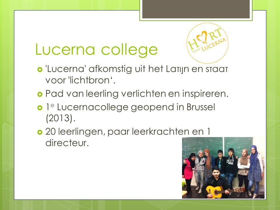 Lucerna college  'Lucerna' afkomstig uit het Latijn en staat voor 'lichtbron'.  Pad van leerling verlichten en inspireren.  1 e Lucernacollege geop