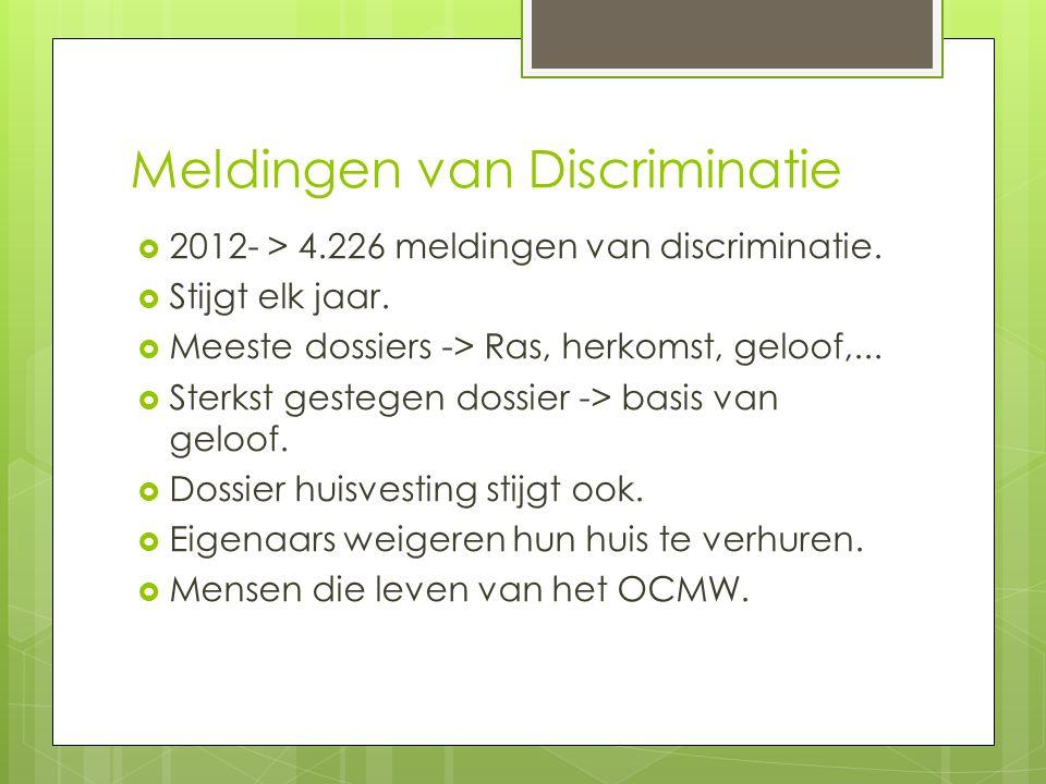 Meldingen van Discriminatie  2012- > 4.226 meldingen van discriminatie.  Stijgt elk jaar.  Meeste dossiers -> Ras, herkomst, geloof,...  Sterkst g