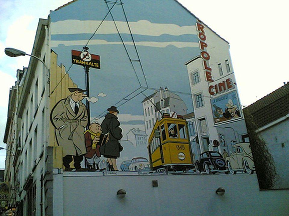 Grappig hoe de Brusselse autoriteiten zijn met behulp van vele muren met een speciaal tintje, de muurschilderingen zijn het meest gewijd aan de