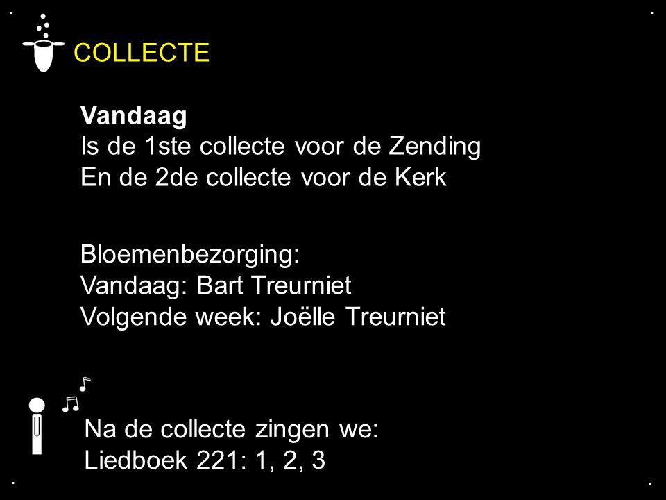 .... COLLECTE Vandaag Is de 1ste collecte voor de Zending En de 2de collecte voor de Kerk Na de collecte zingen we: Liedboek 221: 1, 2, 3 Bloemenbezor