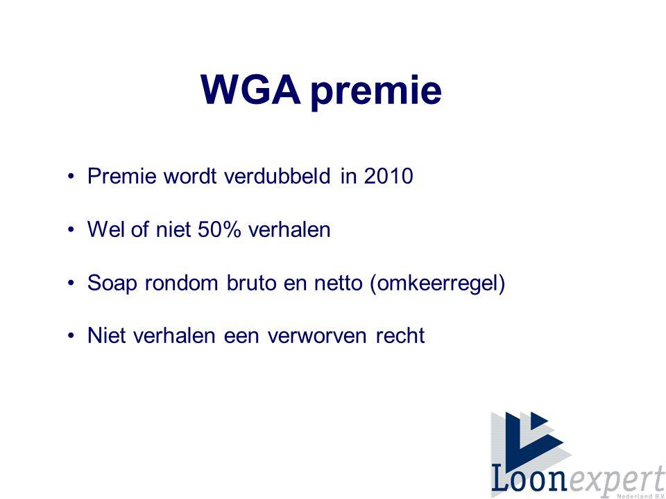 WGA premie Premie wordt verdubbeld in 2010 Wel of niet 50% verhalen Soap rondom bruto en netto (omkeerregel) Niet verhalen een verworven recht