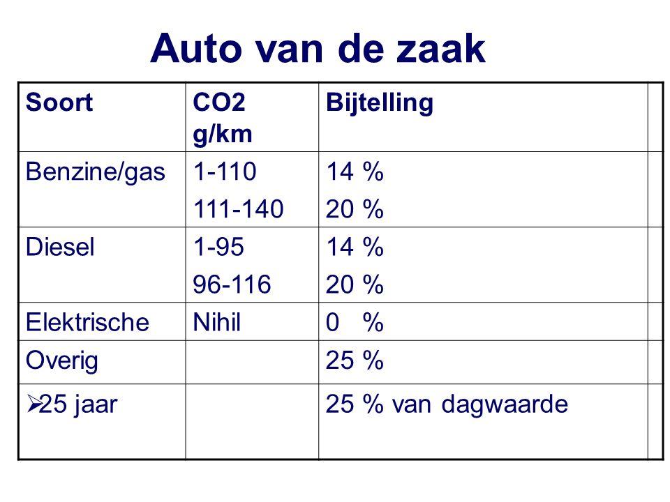 Auto van de zaak SoortCO2 g/km Bijtelling Benzine/gas1-110 111-140 14 % 20 % Diesel1-95 96-116 14 % 20 % ElektrischeNihil0 % Overig25 %  25 jaar25 % van dagwaarde