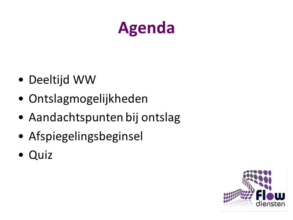 Agenda Deeltijd WW Ontslagmogelijkheden Aandachtspunten bij ontslag Afspiegelingsbeginsel Quiz