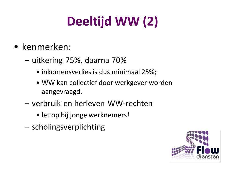 Deeltijd WW (2) kenmerken: –uitkering 75%, daarna 70% inkomensverlies is dus minimaal 25%; WW kan collectief door werkgever worden aangevraagd.
