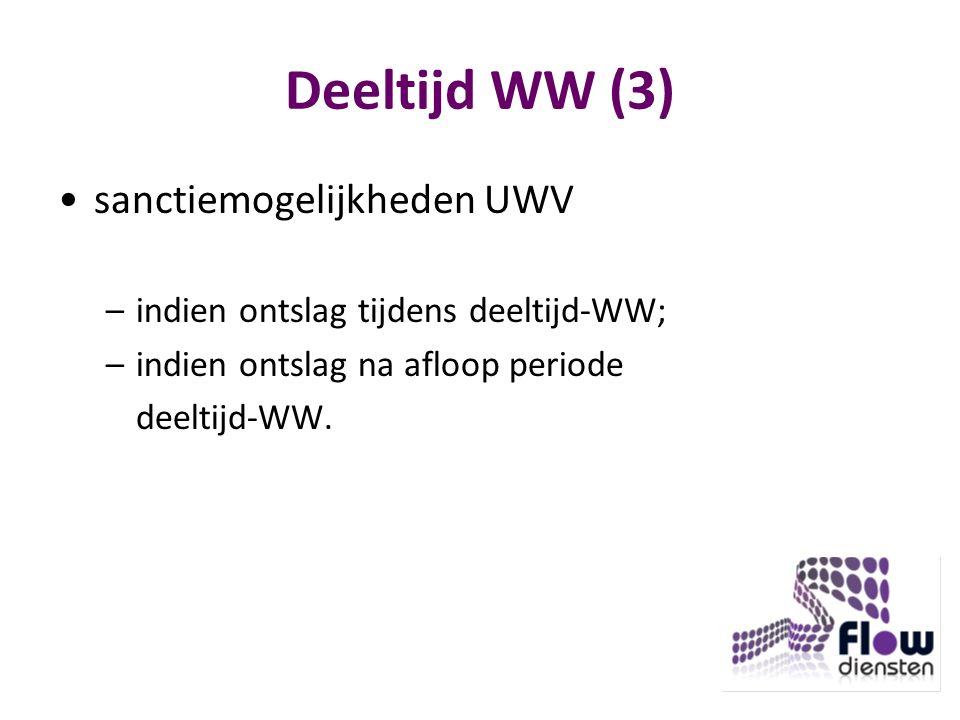 Deeltijd WW (3) sanctiemogelijkheden UWV –indien ontslag tijdens deeltijd-WW; –indien ontslag na afloop periode deeltijd-WW.