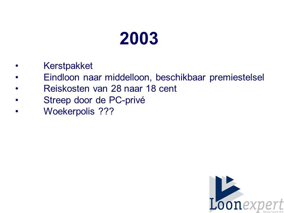 2003 Kerstpakket Eindloon naar middelloon, beschikbaar premiestelsel Reiskosten van 28 naar 18 cent Streep door de PC-privé Woekerpolis ???