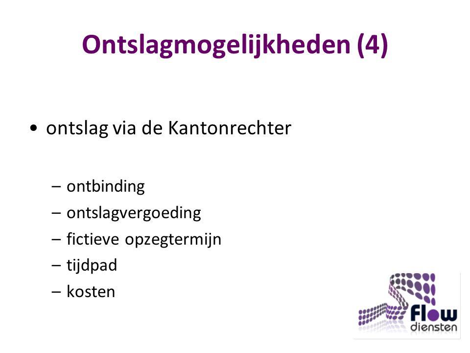 Ontslagmogelijkheden (4) ontslag via de Kantonrechter –ontbinding –ontslagvergoeding –fictieve opzegtermijn –tijdpad –kosten