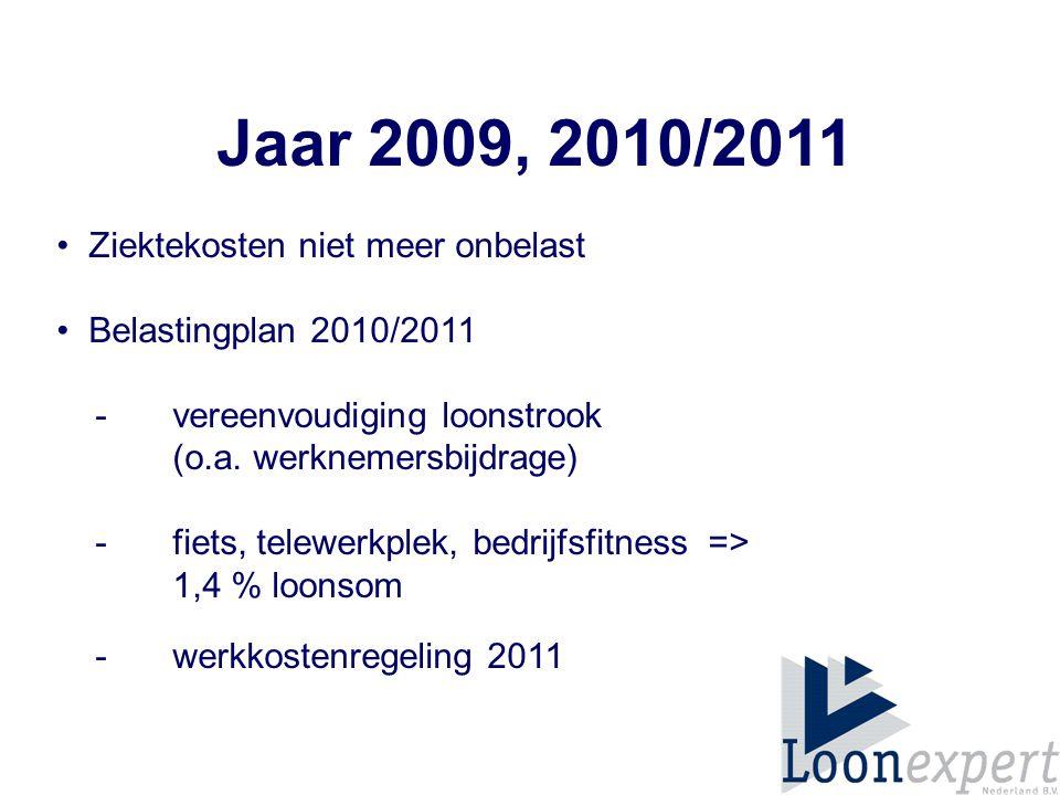 Jaar 2009, 2010/2011 Ziektekosten niet meer onbelast Belastingplan 2010/2011 - vereenvoudiging loonstrook (o.a.