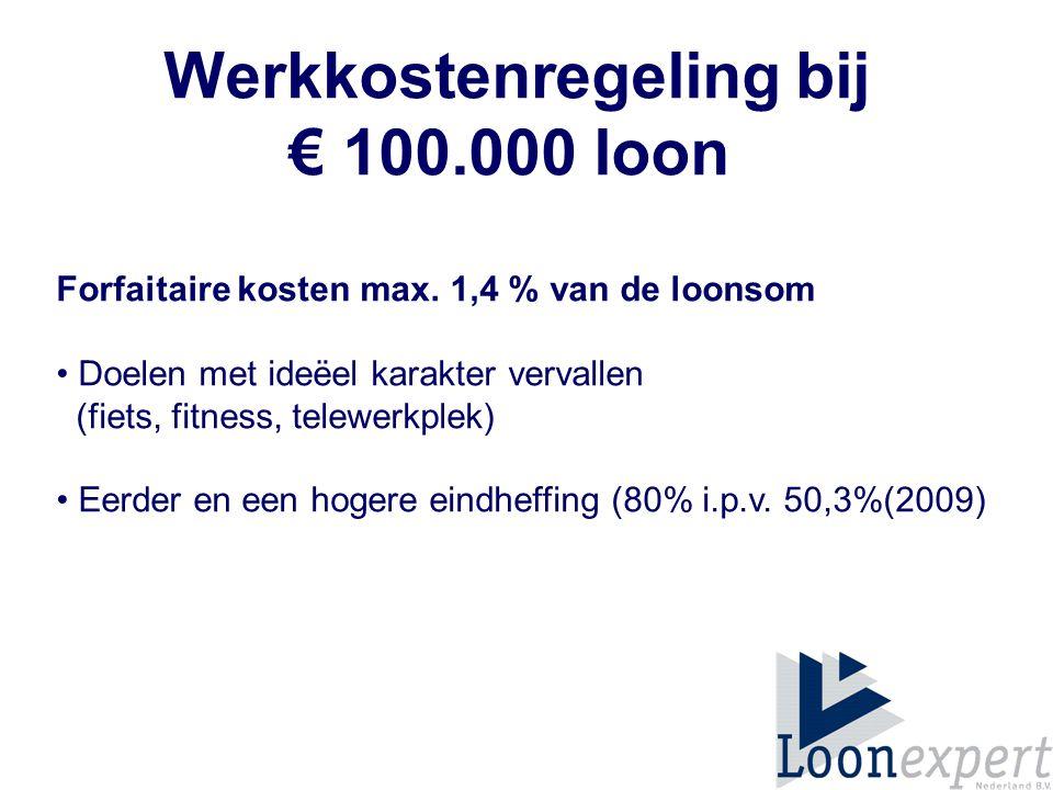 Werkkostenregeling bij € 100.000 loon Forfaitaire kosten max.