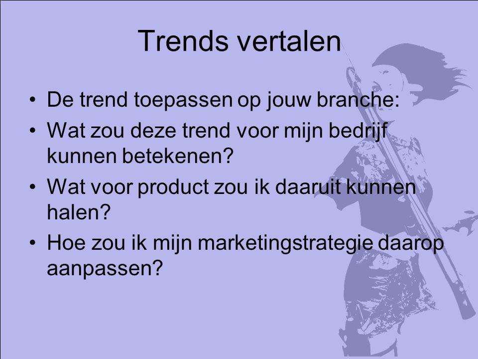 Trends vertalen De trend toepassen op jouw branche: Wat zou deze trend voor mijn bedrijf kunnen betekenen.