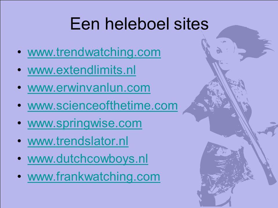 Een heleboel sites www.trendwatching.com www.extendlimits.nl www.erwinvanlun.com www.scienceofthetime.com www.springwise.com www.trendslator.nl www.dutchcowboys.nl www.frankwatching.com