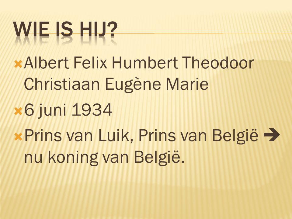  Albert Felix Humbert Theodoor Christiaan Eugène Marie  6 juni 1934  Prins van Luik, Prins van België  nu koning van België.