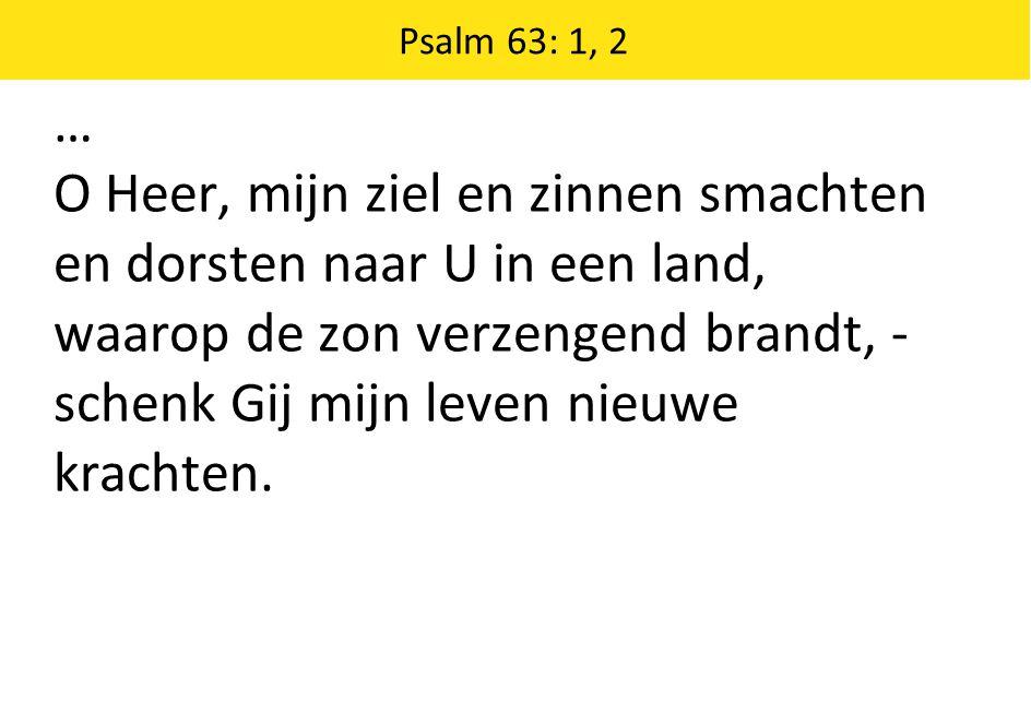 … O Heer, mijn ziel en zinnen smachten en dorsten naar U in een land, waarop de zon verzengend brandt, - schenk Gij mijn leven nieuwe krachten. Psalm