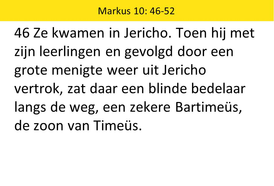 46 Ze kwamen in Jericho. Toen hij met zijn leerlingen en gevolgd door een grote menigte weer uit Jericho vertrok, zat daar een blinde bedelaar langs d