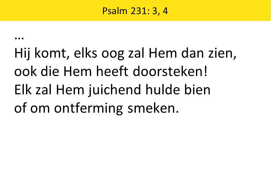 Psalm 231: 3, 4 … Hij komt, elks oog zal Hem dan zien, ook die Hem heeft doorsteken! Elk zal Hem juichend hulde bien of om ontferming smeken.