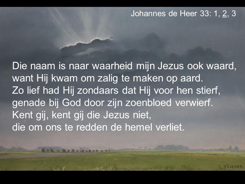 Die naam is naar waarheid mijn Jezus ook waard, want Hij kwam om zalig te maken op aard. Zo lief had Hij zondaars dat Hij voor hen stierf, genade bij
