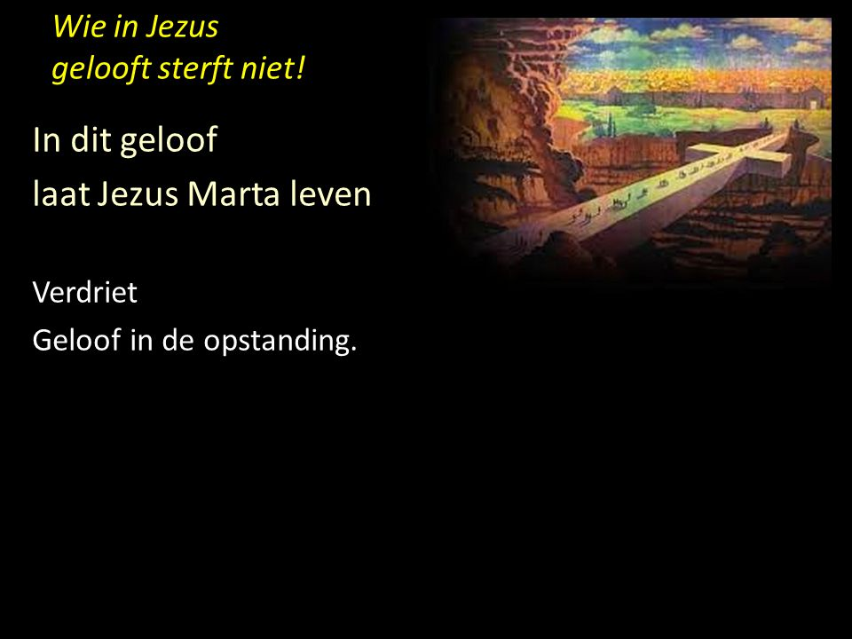 Wie in Jezus gelooft sterft niet! In dit geloof laat Jezus Marta leven Verdriet Geloof in de opstanding.