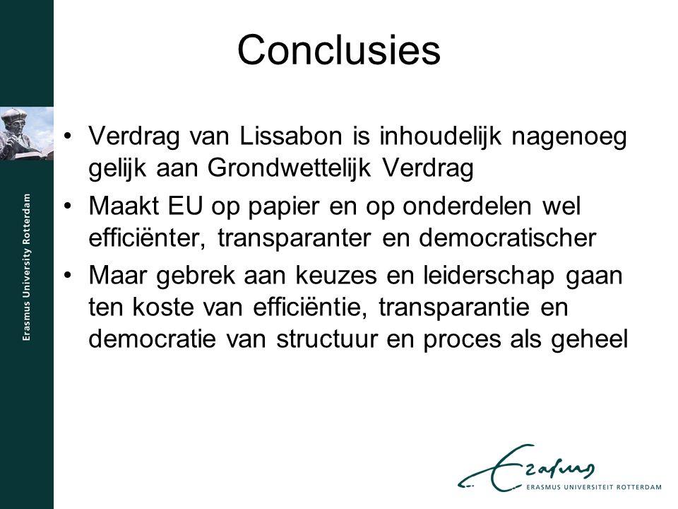 Conclusies Verdrag van Lissabon is inhoudelijk nagenoeg gelijk aan Grondwettelijk Verdrag Maakt EU op papier en op onderdelen wel efficiënter, transparanter en democratischer Maar gebrek aan keuzes en leiderschap gaan ten koste van efficiëntie, transparantie en democratie van structuur en proces als geheel