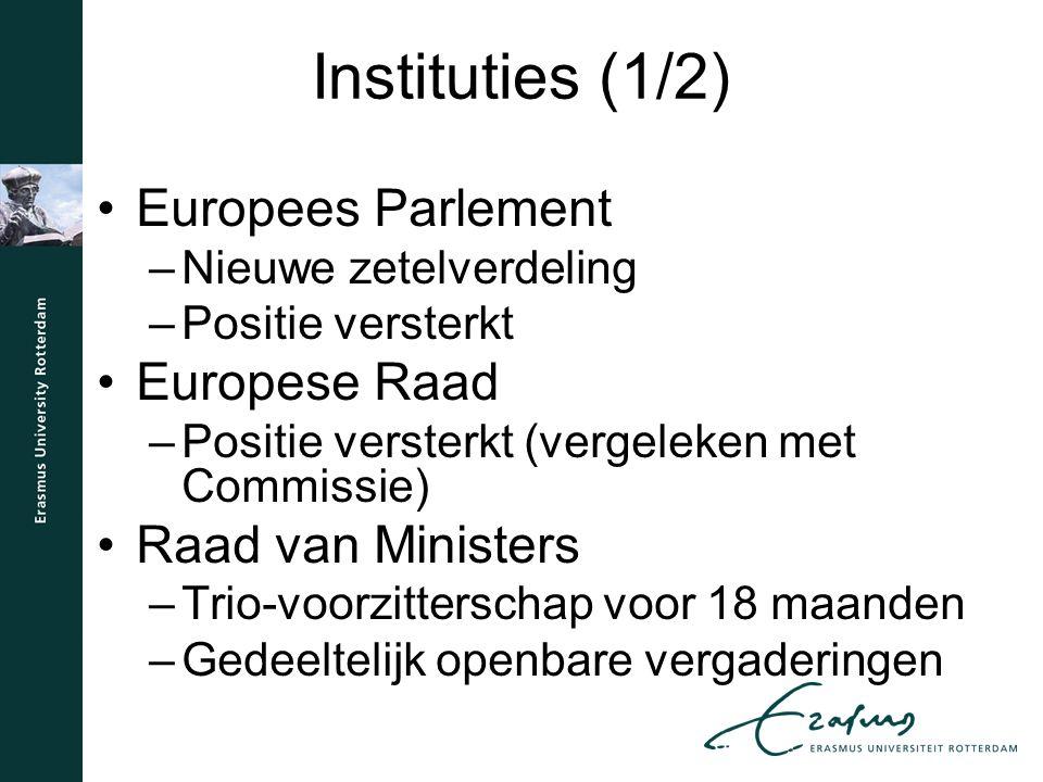 Instituties (1/2) Europees Parlement –Nieuwe zetelverdeling –Positie versterkt Europese Raad –Positie versterkt (vergeleken met Commissie) Raad van Ministers –Trio-voorzitterschap voor 18 maanden –Gedeeltelijk openbare vergaderingen