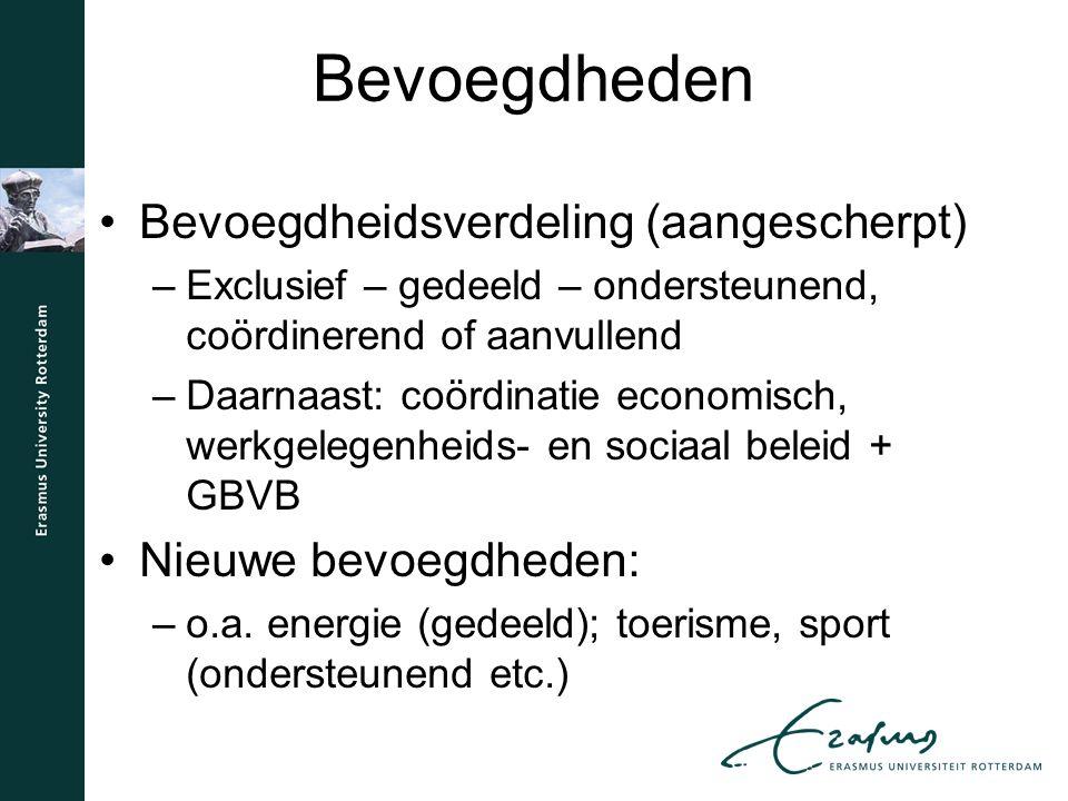Bevoegdheden Bevoegdheidsverdeling (aangescherpt) –Exclusief – gedeeld – ondersteunend, coördinerend of aanvullend –Daarnaast: coördinatie economisch, werkgelegenheids- en sociaal beleid + GBVB Nieuwe bevoegdheden: –o.a.