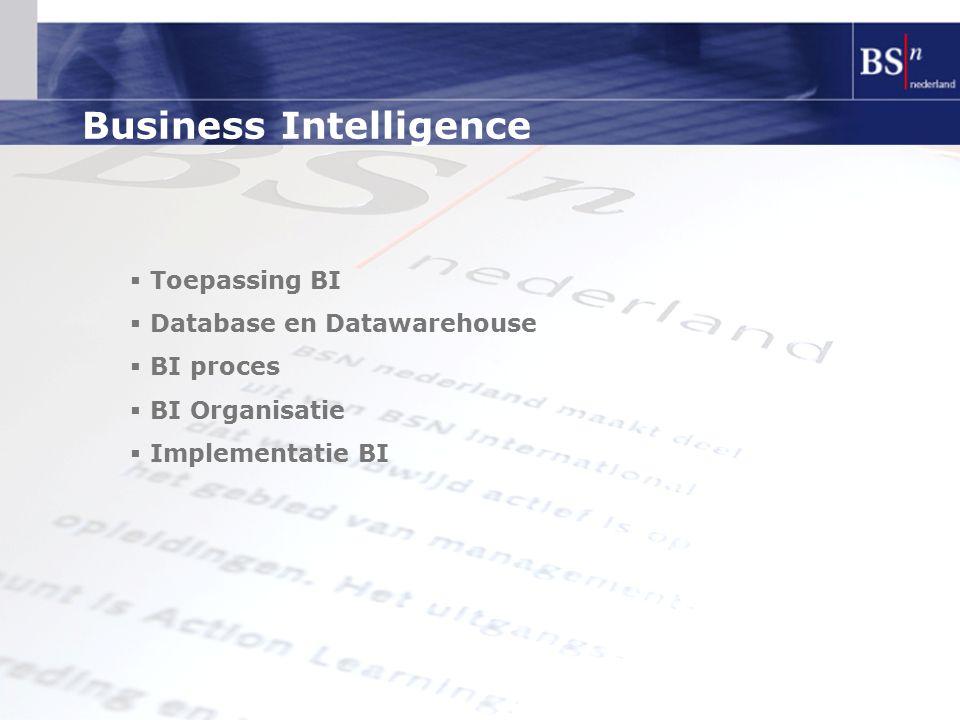 Toepassing BI  Operationele sturing  Financieel (BBSC)  Performance  NIET voor ondersteuning proces zelf  Marketing  Detecteren suspects  Performance  Trendanalyse  Strategie  Simulatiemodellen