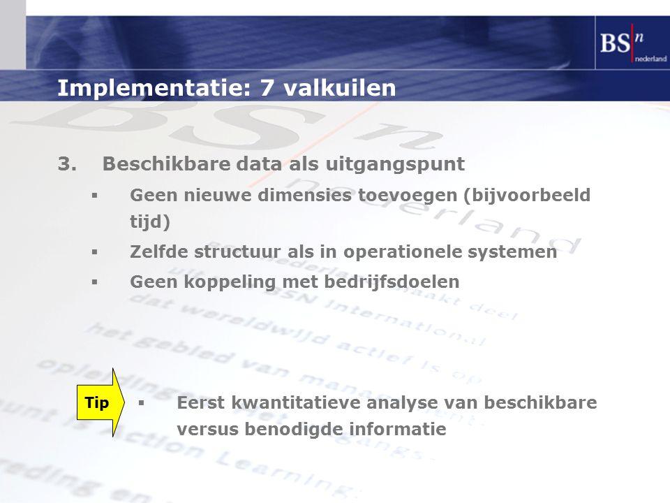 Implementatie: 7 valkuilen 3.Beschikbare data als uitgangspunt  Geen nieuwe dimensies toevoegen (bijvoorbeeld tijd)  Zelfde structuur als in operati