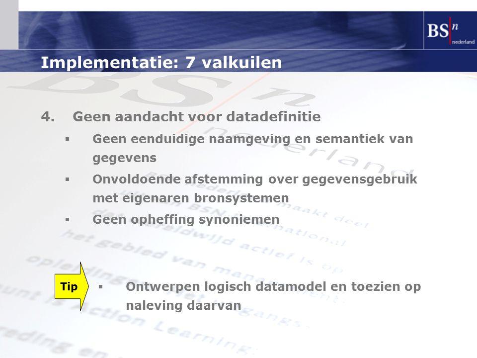 Implementatie: 7 valkuilen 4.Geen aandacht voor datadefinitie  Geen eenduidige naamgeving en semantiek van gegevens  Onvoldoende afstemming over geg