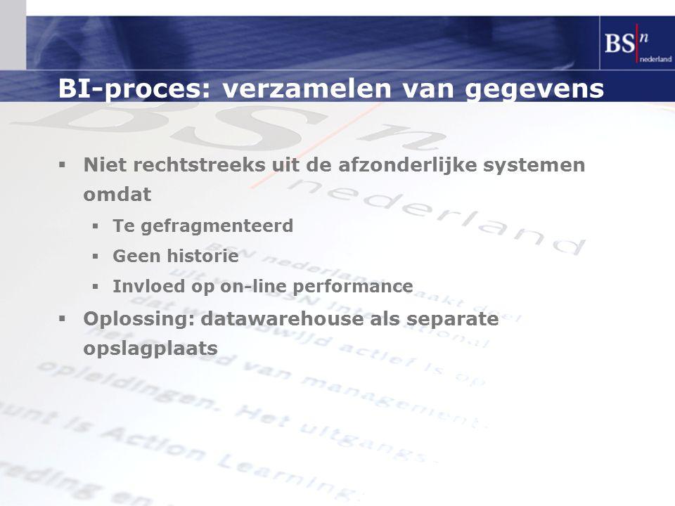 BI-proces: verzamelen van gegevens  Niet rechtstreeks uit de afzonderlijke systemen omdat  Te gefragmenteerd  Geen historie  Invloed op on-line performance  Oplossing: datawarehouse als separate opslagplaats