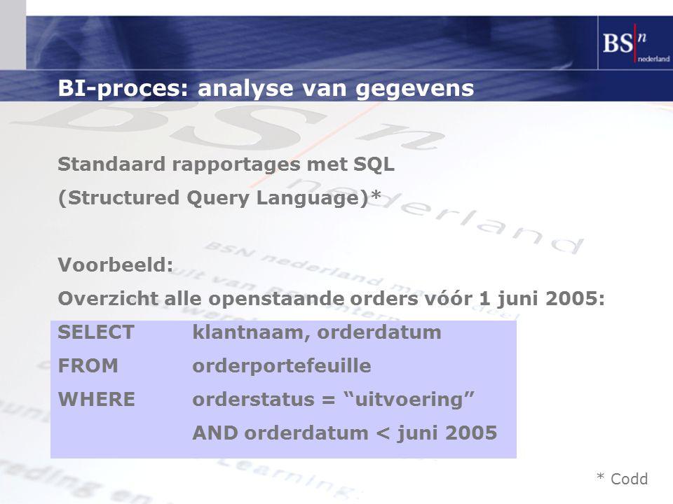 BI-proces: analyse van gegevens Standaard rapportages met SQL (Structured Query Language)* Voorbeeld: Overzicht alle openstaande orders vóór 1 juni 2005: SELECTklantnaam, orderdatum FROM orderportefeuille WHERE orderstatus = uitvoering AND orderdatum < juni 2005 * Codd