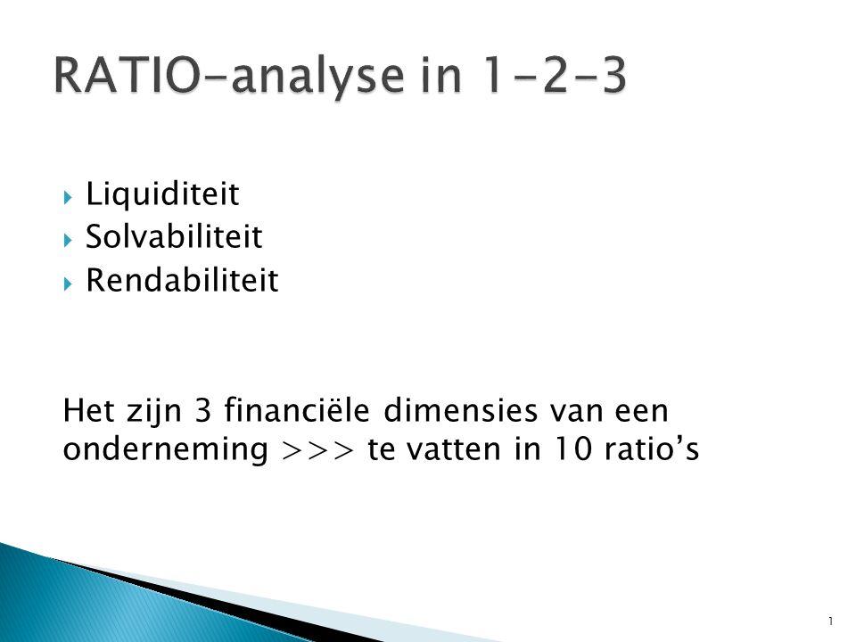  Liquiditeit  Solvabiliteit  Rendabiliteit Het zijn 3 financiële dimensies van een onderneming >>> te vatten in 10 ratio's 1
