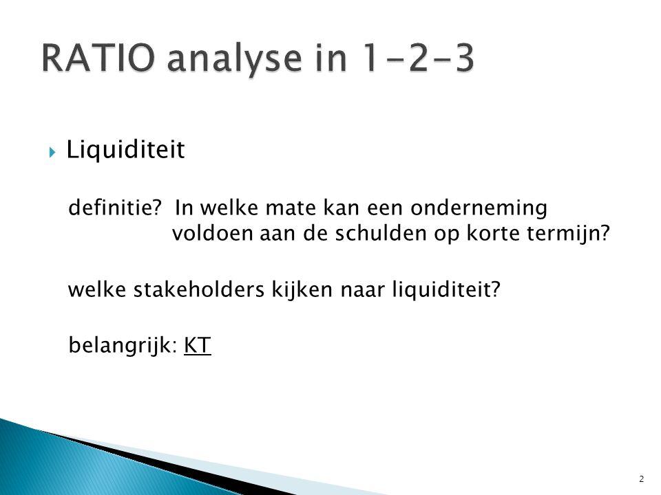  Liquiditeit ratio 1: activa op KT – passiva op KT d.i.