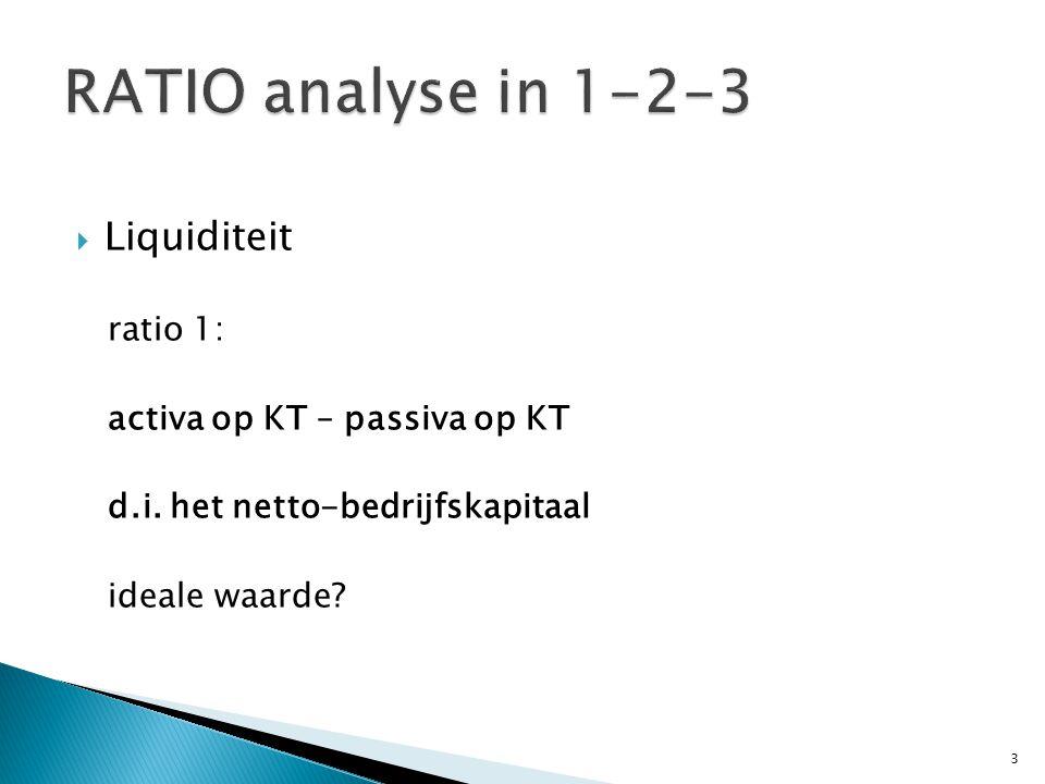  Liquiditeit ratio 1: activa op KT – passiva op KT d.i. het netto-bedrijfskapitaal ideale waarde? 3