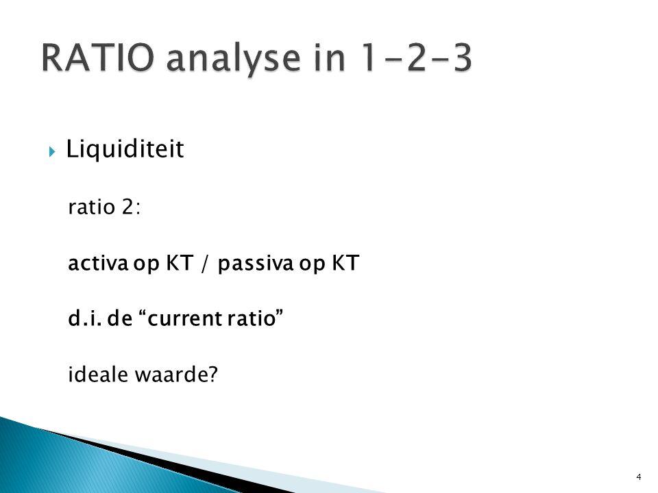  Liquiditeit ratio 3: (activa op KT – voorraden ) / passiva op KT d.i.