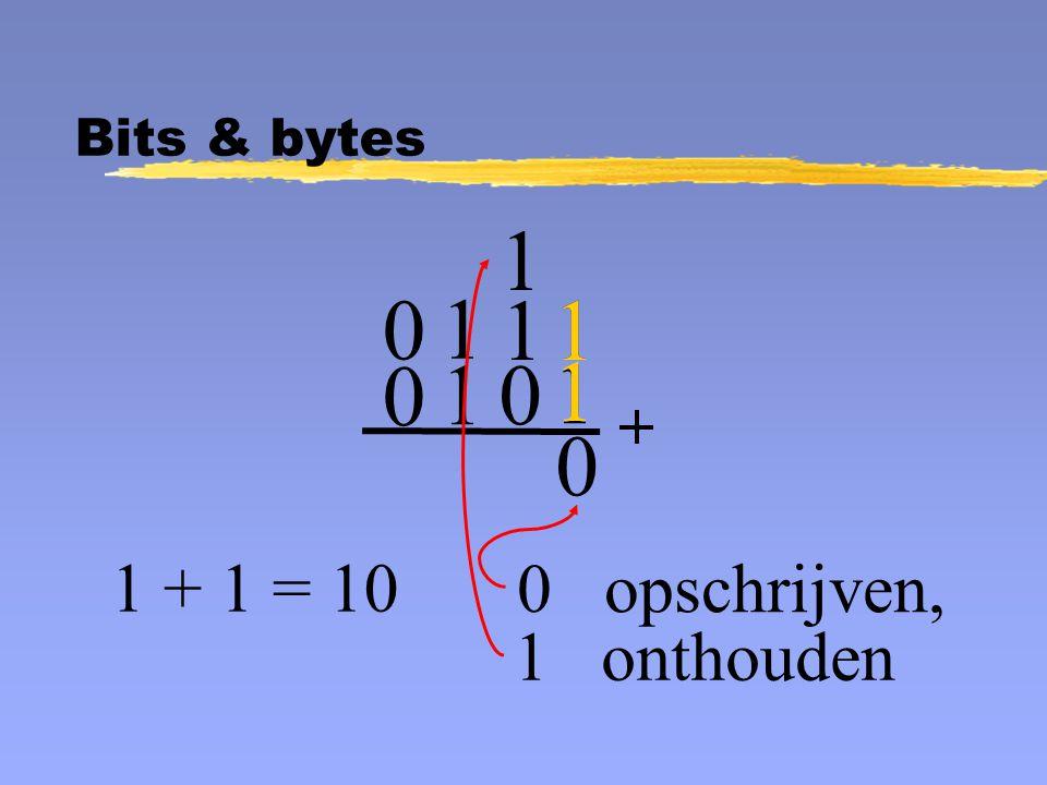 1 1 0 0 opschrijven, 1 0 1 1 0 0 1 1 1 + 1 = 10 1 onthouden 1 Bits & bytes