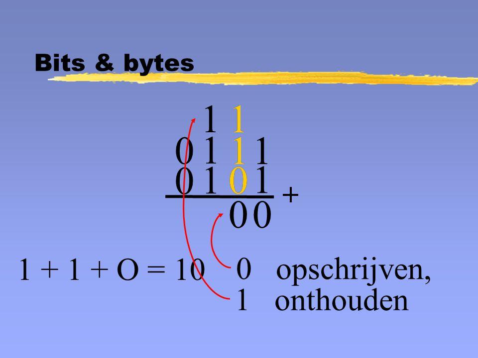 1 1 0 0 opschrijven, 1 1 0 0 1 + 1 + O = 10 1 onthouden 1 0 1 1 0 1 0 1 Bits & bytes