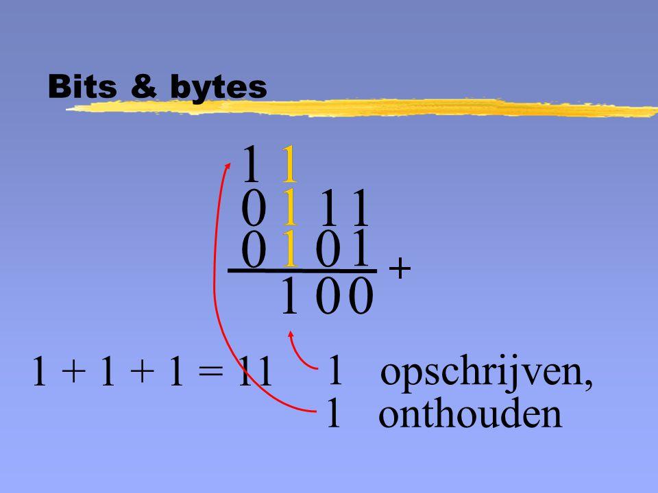 1 1 0 1 opschrijven, 0 0 1 + 1 + 1 = 11 1 onthouden 1 0 0 1 1 1 1 1 1 1 1 Bits & bytes