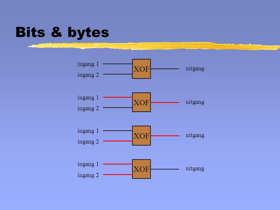 XOF ingang 1 ingang 2 uitgang XOF ingang 1 ingang 2 uitgang XOF ingang 1 ingang 2 uitgang XOF ingang 1 ingang 2 uitgang Bits & bytes