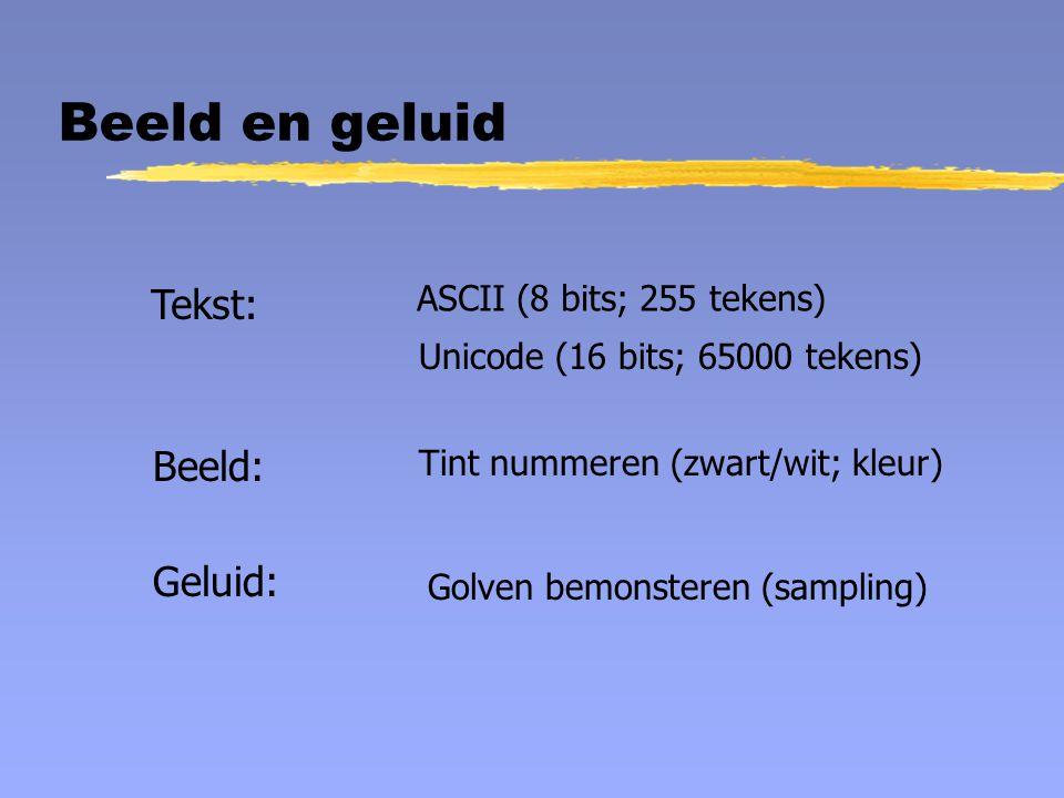 Beeld en geluid Tekst: ASCII (8 bits; 255 tekens) Unicode (16 bits; 65000 tekens) Beeld: Tint nummeren (zwart/wit; kleur) Geluid: Golven bemonsteren (sampling)
