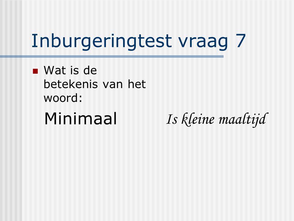Inburgeringtest vraag 7 Wat is de betekenis van het woord: Minimaal Is kleine maaltijd