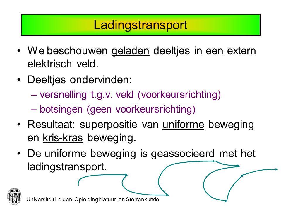 Universiteit Leiden, Opleiding Natuur- en Sterrenkunde Ladingstransport We beschouwen geladen deeltjes in een extern elektrisch veld.