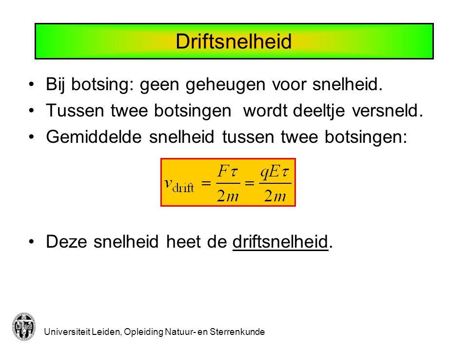 Universiteit Leiden, Opleiding Natuur- en Sterrenkunde Driftsnelheid Bij botsing: geen geheugen voor snelheid.