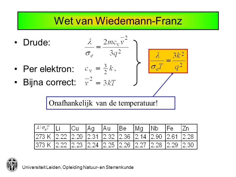 Universiteit Leiden, Opleiding Natuur- en Sterrenkunde Wet van Wiedemann-Franz Drude: Per elektron: Bijna correct: Onafhankelijk van de temperatuur!