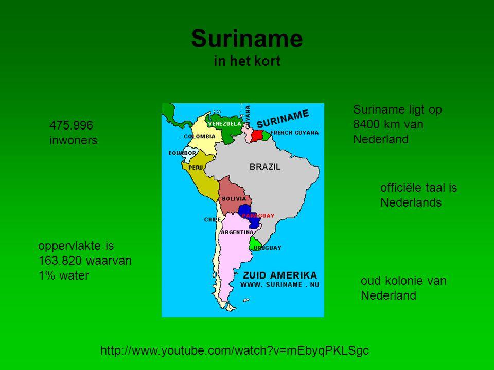 Suriname in het kort 475.996 inwoners officiële taal is Nederlands oppervlakte is 163.820 waarvan 1% water oud kolonie van Nederland http://www.youtube.com/watch?v=mEbyqPKLSgc Suriname ligt op 8400 km van Nederland