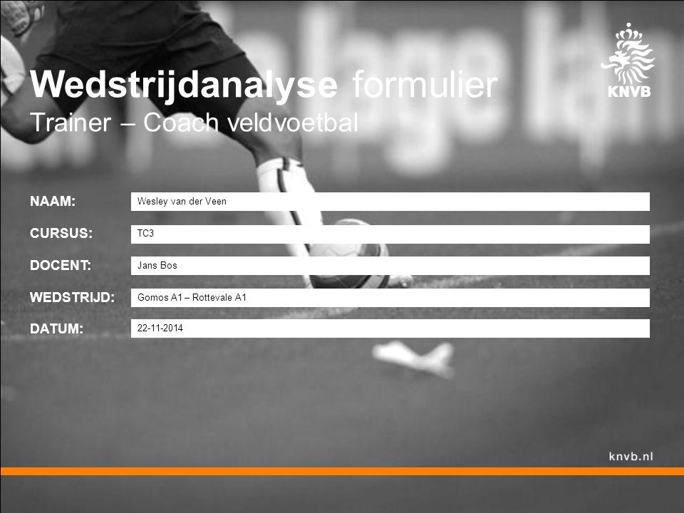Wedstrijdanalyse formulier Trainer – Coach veldvoetbal NAAM: CURSUS: DOCENT: WEDSTRIJD: DATUM: Wesley van der Veen TC3 Jans Bos Gomos A1 – Rottevale A1 22-11-2014