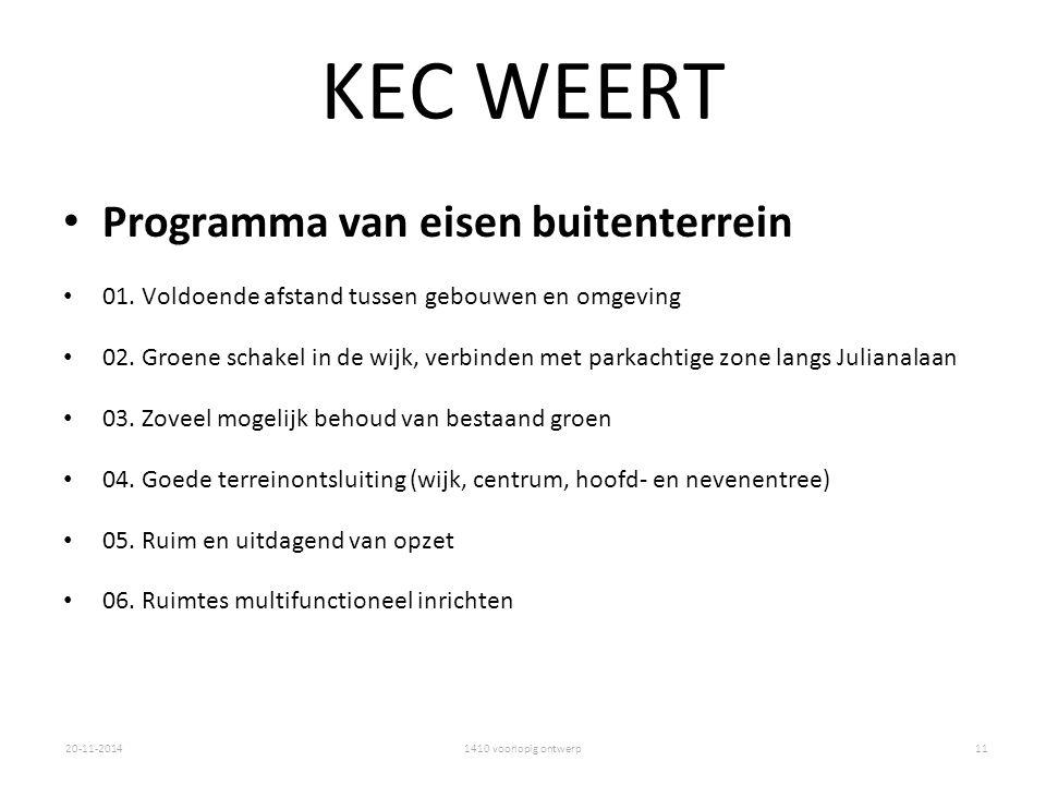 1410 voorlopig ontwerp20-11-2014 KEC WEERT Programma van eisen buitenterrein 01. Voldoende afstand tussen gebouwen en omgeving 02. Groene schakel in d