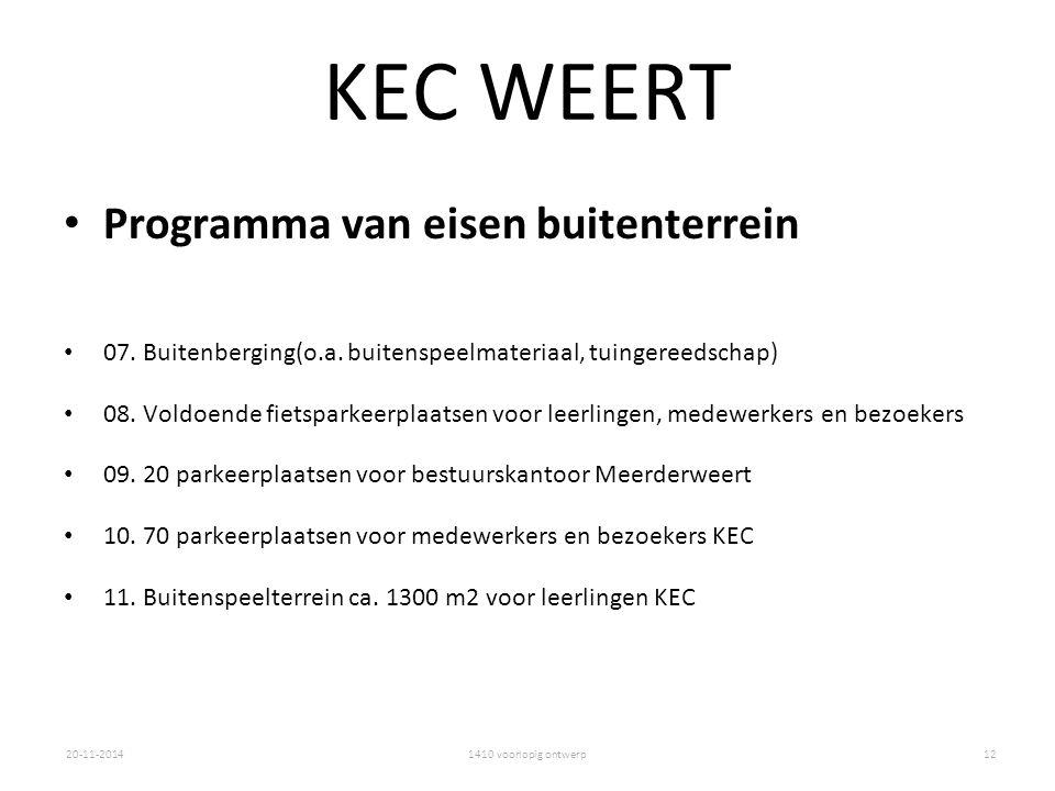 1410 voorlopig ontwerp20-11-2014 KEC WEERT Programma van eisen buitenterrein 07. Buitenberging(o.a. buitenspeelmateriaal, tuingereedschap) 08. Voldoen