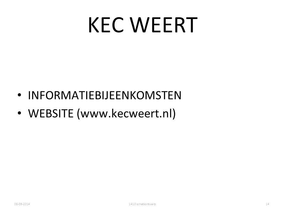 1410 schetsontwerp08-09-2014 KEC WEERT INFORMATIEBIJEENKOMSTEN WEBSITE (www.kecweert.nl) 14
